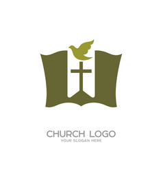 the bible the bookmark cross and dove vector image