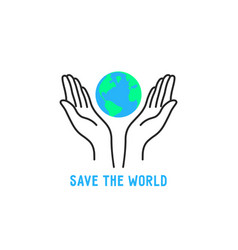 thin line hand holding earth vector image