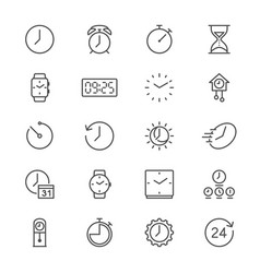 Time and clock thin icons vector