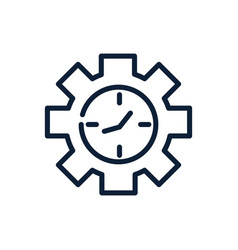 time clock gear work linear design vector image