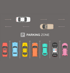 Top view of different cars city parking parking z vector