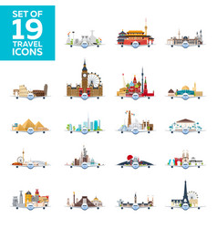 travel to world airplane with attractions big vector image