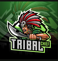 tribal chief esport mascot logo vector image