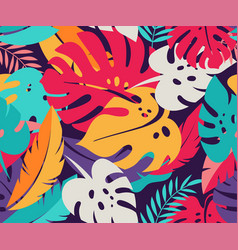 Tropical leaves exotic colorful seamless pattern vector