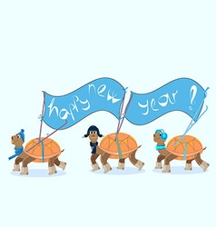 Turtles with skis carry banner happy new year vector