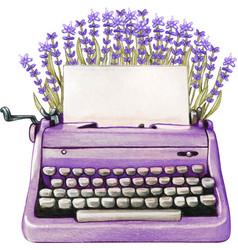 Vintage watercolor lavender typewriter blank sheet vector