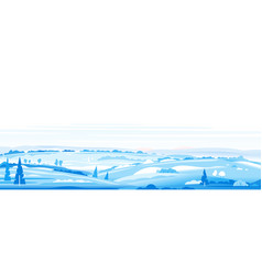 Winter fields panorama landscape background vector