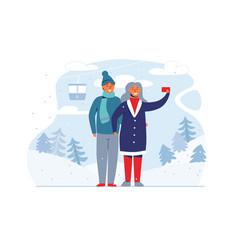 winter holidays people on ski resort happy couple vector image
