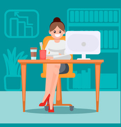 Woman in the office at the table vector