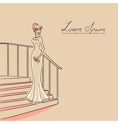 Woman on staircase vector