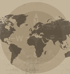 World map and compass vector