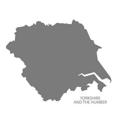 Yorkshire and the humber england map grey vector