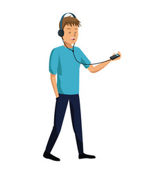 young man listen music mp3 vector image