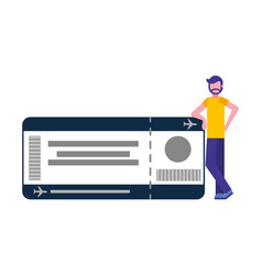young man with ticket flight isolated icon vector image