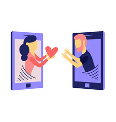 young woman from smartphone screen sending man vector image