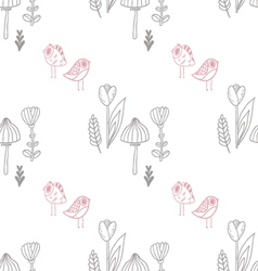 Pattern with mushroom tulips and cute birds vector image