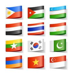 asia flags vector image vector image