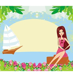beautiful girl on a tropical vacation vector image