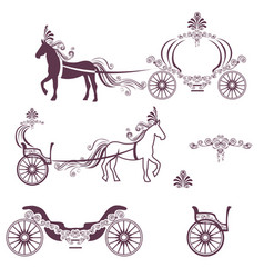 horse with a carriage vector image