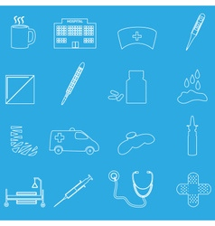 hospital and sick outline icons set eps10 vector image vector image