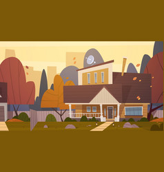 house building suburb of big city in autumn vector image