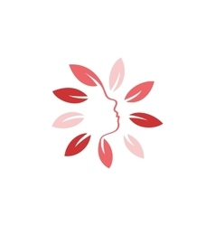 Isolated abstract pink color floral logo Round vector image