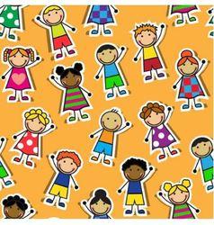 Seamless orange background with Cartoon children vector image