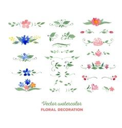 Watercolor floral elements flowers leaves vector