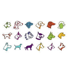 dogs icon set color outline style vector image