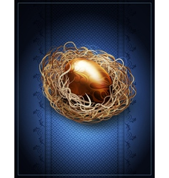 easter vintage background with a golden egg in the vector image