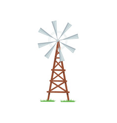 eight-bladed wind pump used to pumping water from vector image