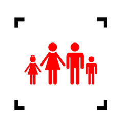 family sign red icon inside vector image vector image