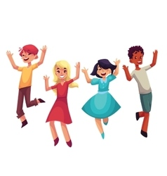 Four happy children boys and girls jumping in vector image