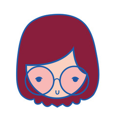 girl face with glasses and hairstyle design vector image vector image