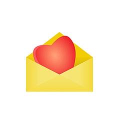 heart in opened envelope vector image vector image