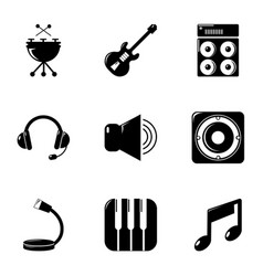music equipment icons set simple style vector image vector image