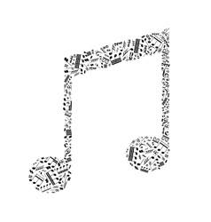 Music note sign made up from a lot of little black vector image vector image