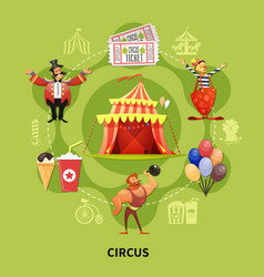 round circus cartoon composition vector image
