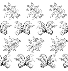 Seamless floral background outline vector image vector image