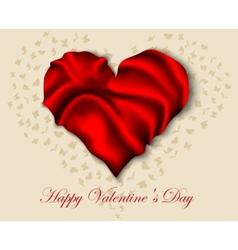 Silk heart on Valentine Day vector image