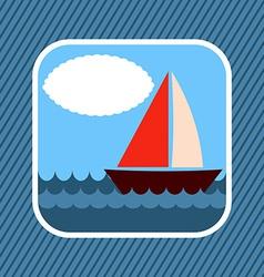 App Icon Boat in Sea vector image vector image