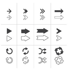 arrows signs set isolated on white background vector image vector image