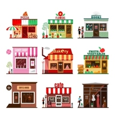 Cool set of detailed flat design city public vector image vector image