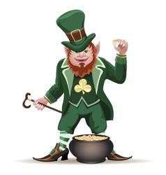 Joyful leprechaun with a cauldron vector image vector image