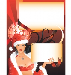 sexy Santa girl with placards vector image vector image