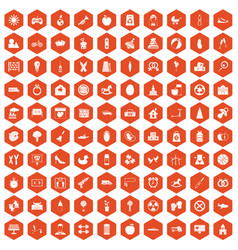 100 maternity leave icons hexagon orange vector