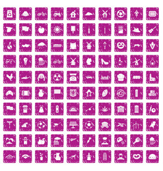 100 mill icons set grunge pink vector