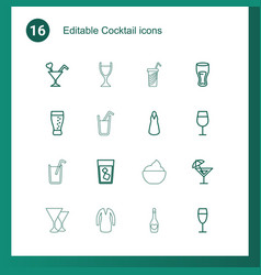 16 cocktail icons vector image