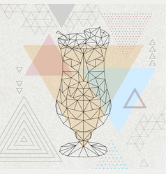 Abstract polygonal tirangle cocktail pina colada vector