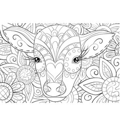 Adult coloring bookpage a cute head of calf vector